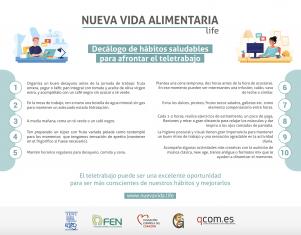 La iniciativa Nueva Vida Alimentaria ofrece un decálogo para afrontar el teletrabajo de forma saludable