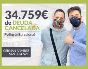 Repara tu Deuda Abogados cancela 34.759€ en Polinyá (Barcelona) con la Ley de la Segunda Oportunidad